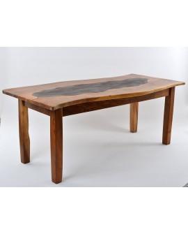 Tavolo in noce con piastra in ferro 100x200x75